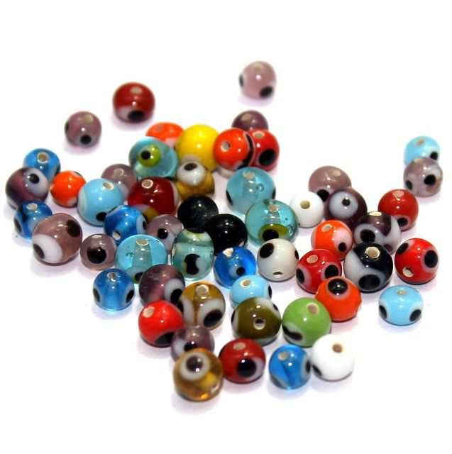 500+ Eye Round Beads Assorted 3-6mm