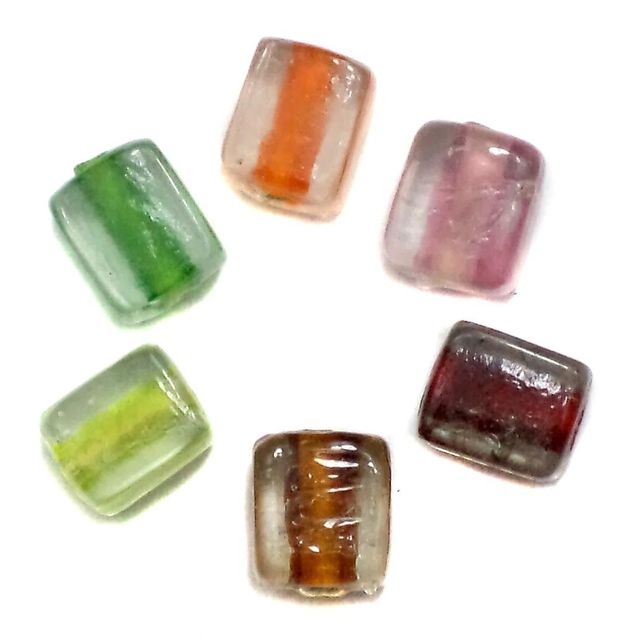 55+ Cube Beads Inside Color Assorted 12mm