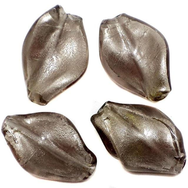 13 Silver Foil Leaf Beads Grey 26x18mm