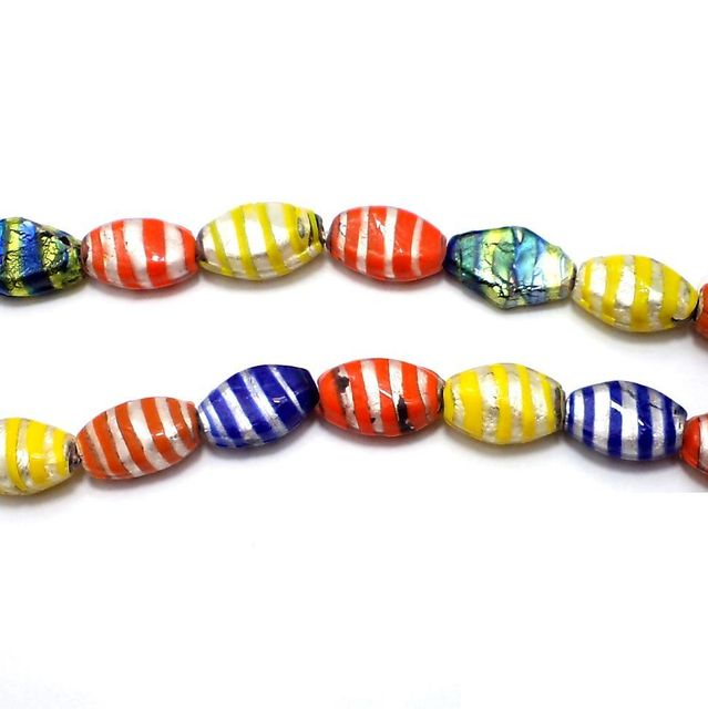 15+ Silver Foil Lozenge Beads Assorted 20x17mm