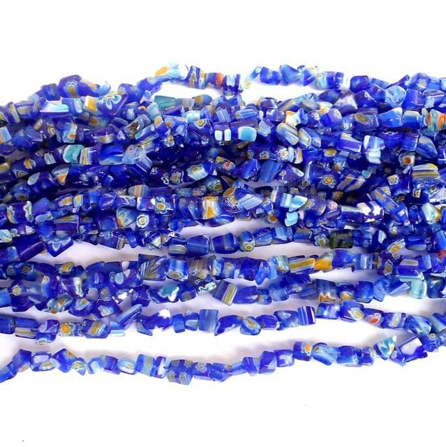 155+ Millefiori Glass Chips Blue 4-6mm