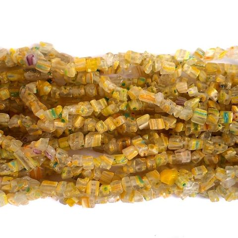 155+ Millefiori Glass Chips Yellow 4-6mm