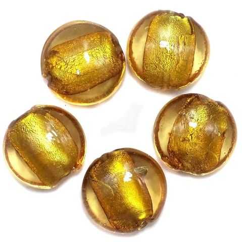 18 Silver Foil Dome Beads Light Brown 20mm