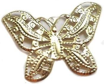 2 Pair Ear Ring Butterfly Component Golden 1 Inch