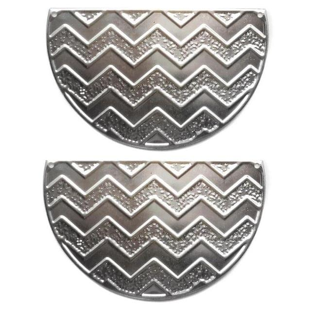2 Pair Ear Ring Component Silver 3X2 Inch