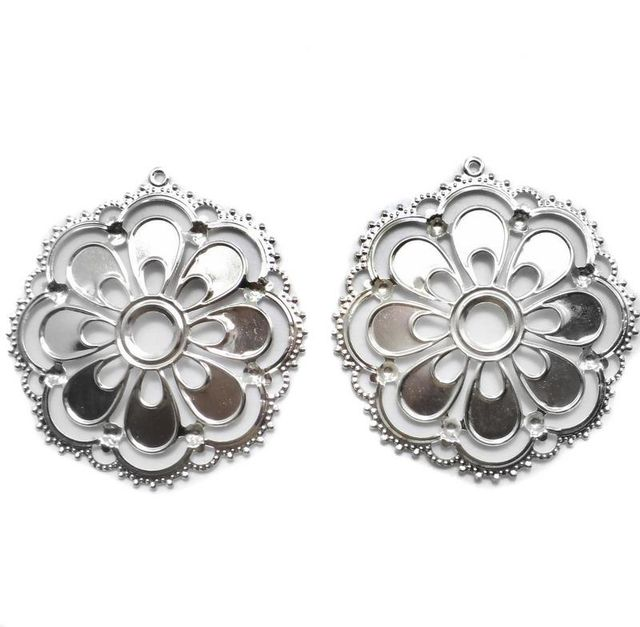2 Pair Ear Ring Flower Component Silver 2.50 Inch