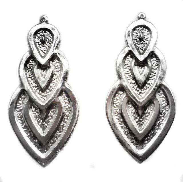 2 Pair Ear Ring Heart Component Silver 3x1.25 Inch