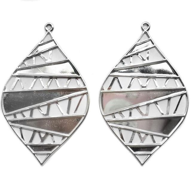 2 Pair Ear Ring Leaf Component Silve 3x2 Inch