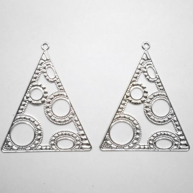 2 Pair Ear Ring Trianguler Component Silver 2.50X2 Inch