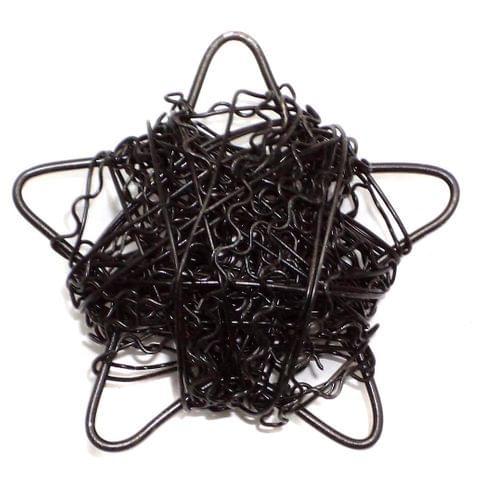 2 Wire Mesh Star Beads Black 48mm