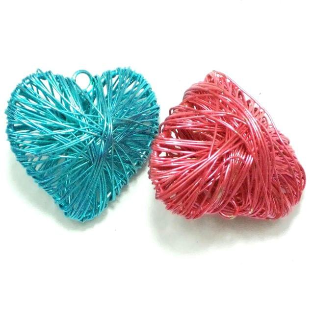 2 Wire Mesh Heart Beads Assorted 40x42mm