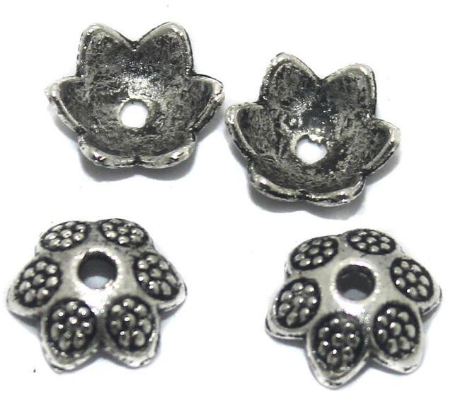 50 Pcs German Silver Bead Caps 10x4mm