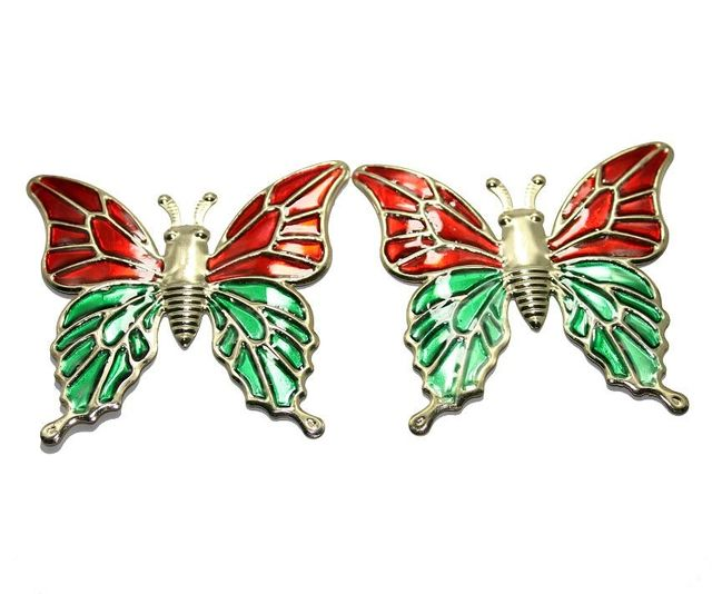 1 Pair Earring ButterFly Component Golden 65x60mm