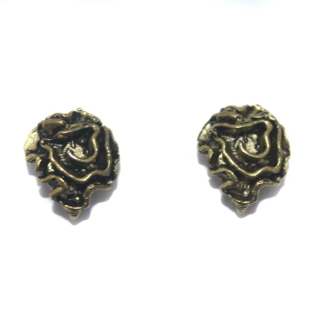 2 Pair German Silver Antique Golden Flower Earring Component 11mm