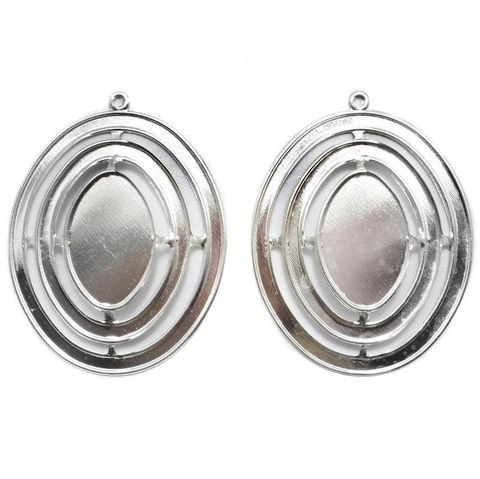4 Ear Ring Circle Componant Silver 64mm
