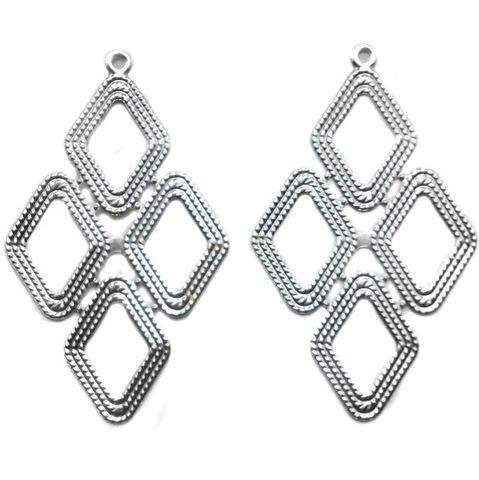 4 Ear Ring Componant Silver 82x50mm