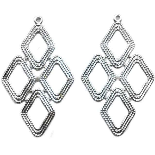 4 Ear Ring Componant Silver 82x50mm