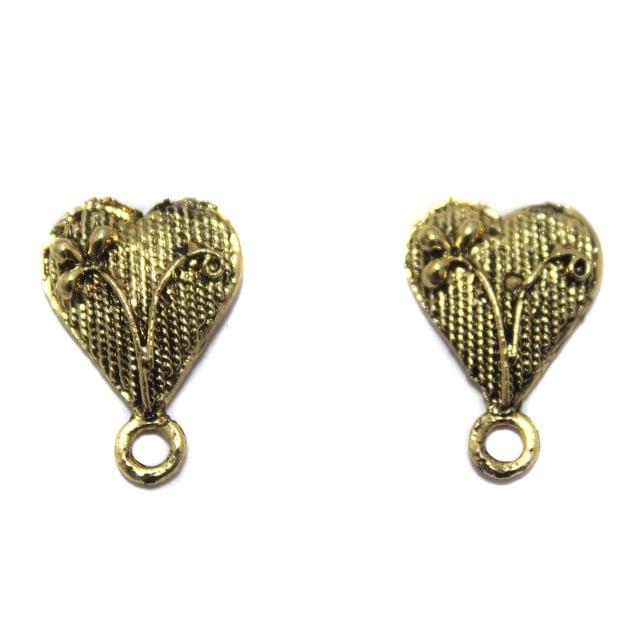 2 Pair German Silver Heart Earring Component Golden 13x12mm