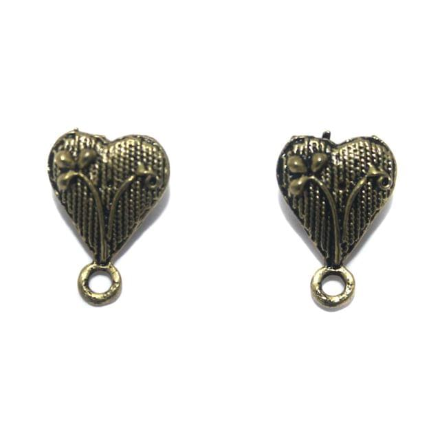 2 Pair German Silver Antique Golden Heart Earring Component 13x12mm