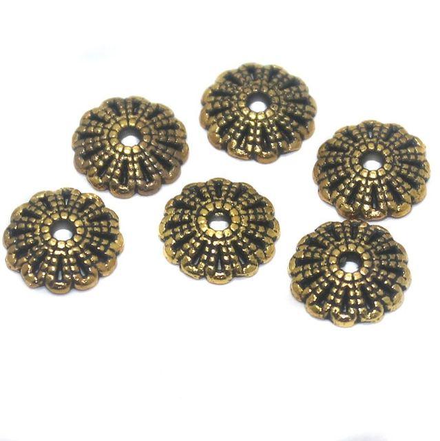 50 Pcs German Silver Golden Bead Caps 11x2 mm