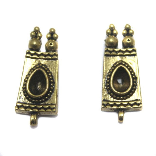 2 Pair German Silver Antique Golden Earring Component 24x11mm