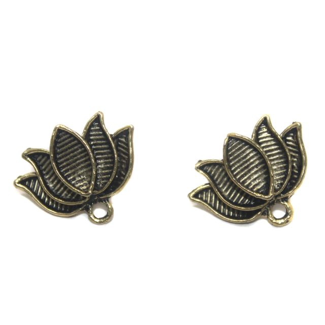 2 Pair German Silver Antique Golden Lotus Earring Component 23x15mm