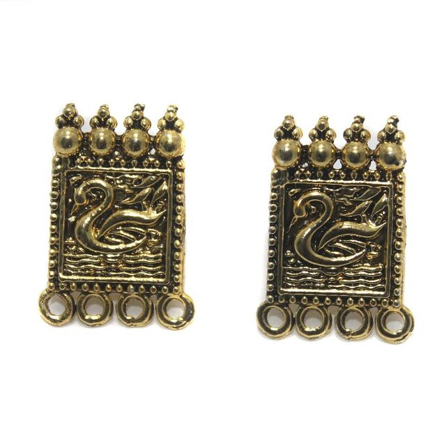 5 Pair German Silver Earring Component Golden 24x15mm