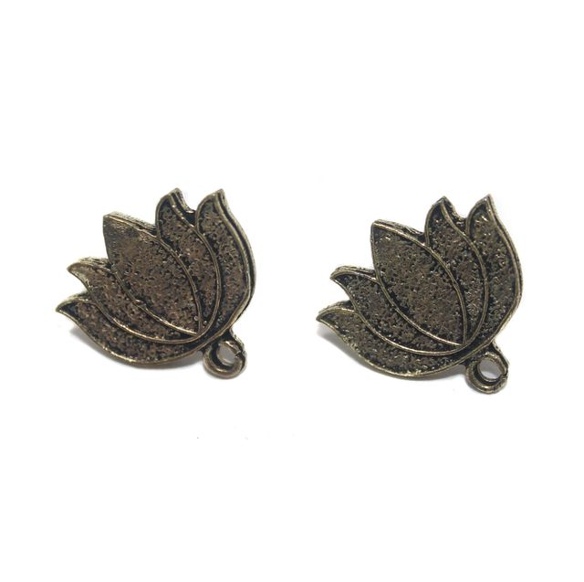 2 Pair German Silver Antique Golden Lotus Earring Component 21x16mm