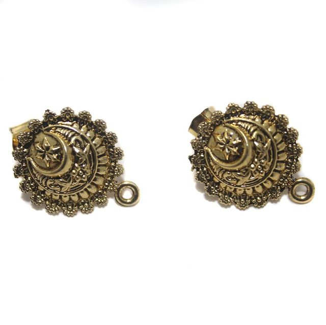 2 Pair German Silver Earring Component Golden 17mm