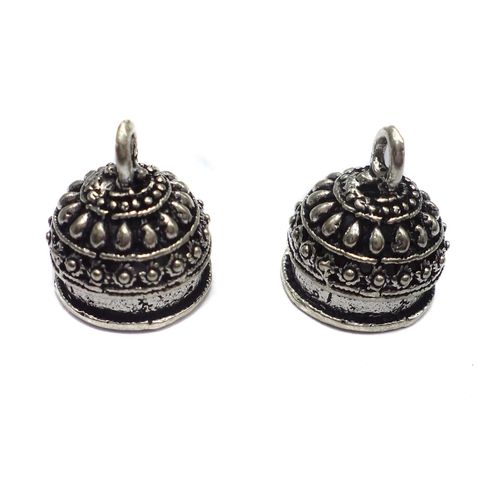 2 Pairs German Silver Jhumka Earring Component 11x14mm