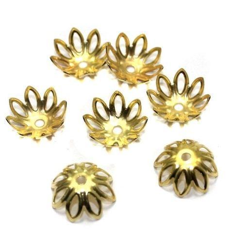 125 Metal Bead Caps Golden 14mm