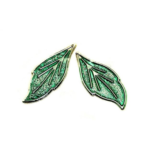 15 Pair Earring Leaf Component Silver 46x19mm