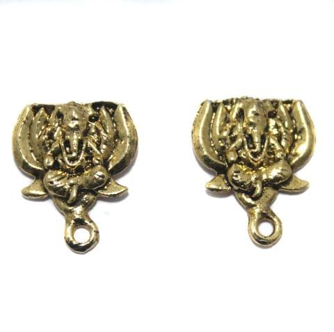 6 Pair German Silver Lord Ganesh Earring Component Golden 15mm