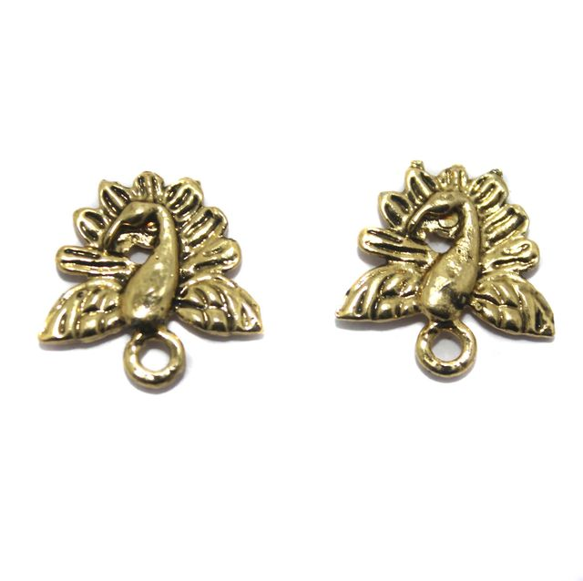2 Pair German Silver Peacock Earring Component Golden 15mm