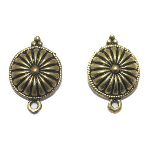 2 Pair German Silver Antique Golden Flower Earring Component 15mm