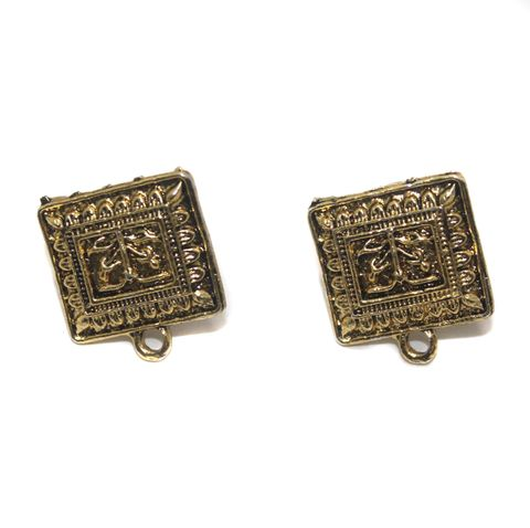 6 Pair German Silver Earring Component Flat Square Golden 16mm