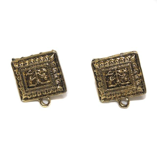 2 Pair German Silver Earring Component Flat Square Golden 16mm