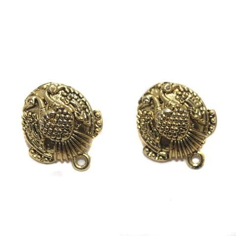 7 Pair German Silver Peacock Earring Component Golden 18mm