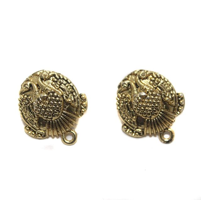 2 Pair German Silver Peacock Earring Component Golden 18mm