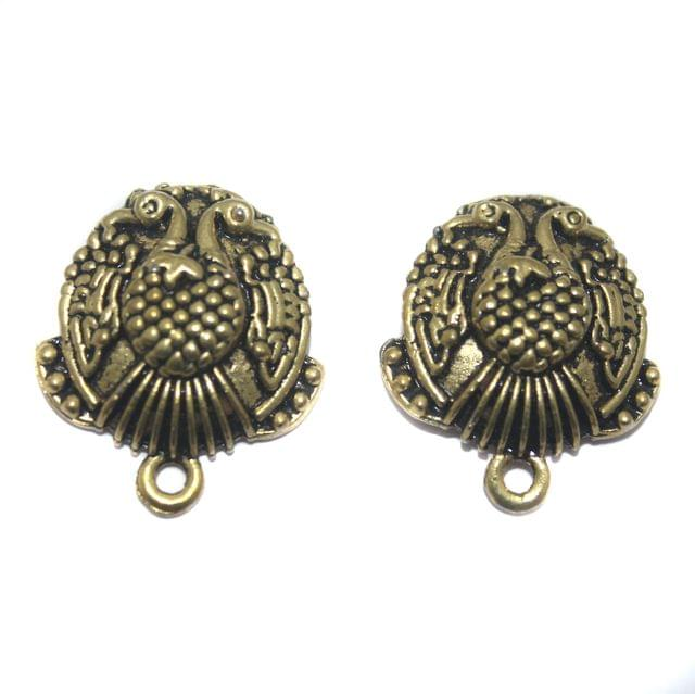 2 Pair German Silver Antique Golden Peacock Earring Component 18mm