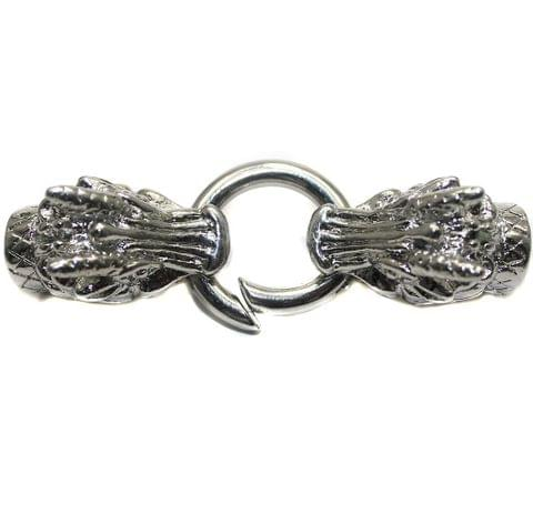 1 German Silver Dragon Head Key Clasps with Two Cord Ends for Bracelet Making 65x15mm