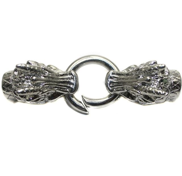 2 German Silver Dragon Head Key Clasps with Two Cord Ends for Bracelet Making 65x15mm