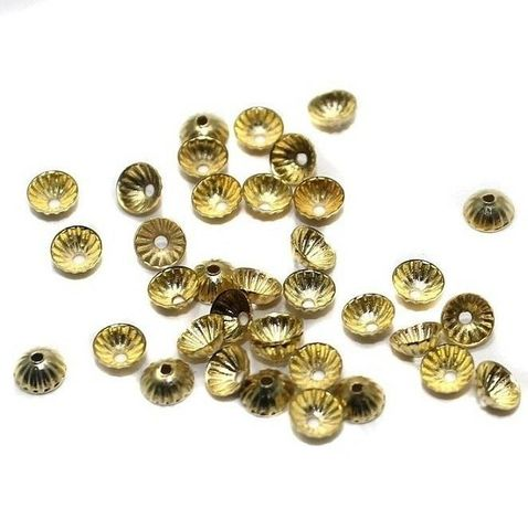 250 Metal Bead Caps Golden 4mm