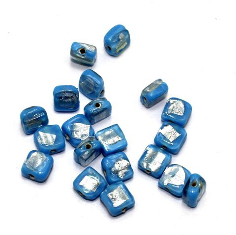 250 pcs of Millefiori Cube Beads Turquoise 10mm