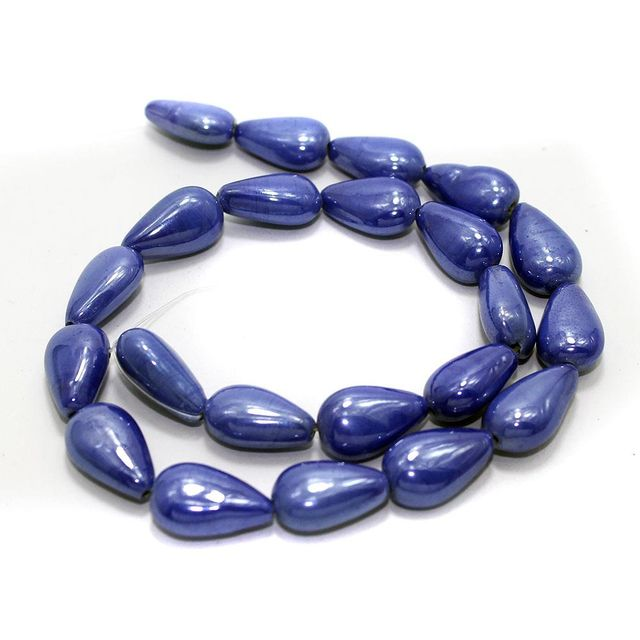 5 Strings Glass Flat Drop Beads Blue 18x10 mm
