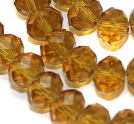 70+ Faceted Crystal RONDELLE Beads Topaz 6 mm