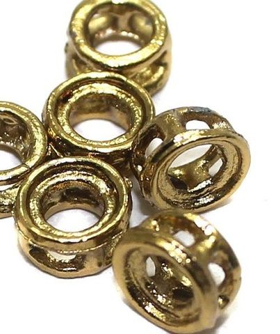 100 Earring Component Golden Round 7 mm