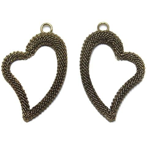 2 Pair Earring Components Heart Bronze 38x28 mm