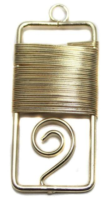 2 Pair Earring Components Wire Wrap Golden 42x20 mm