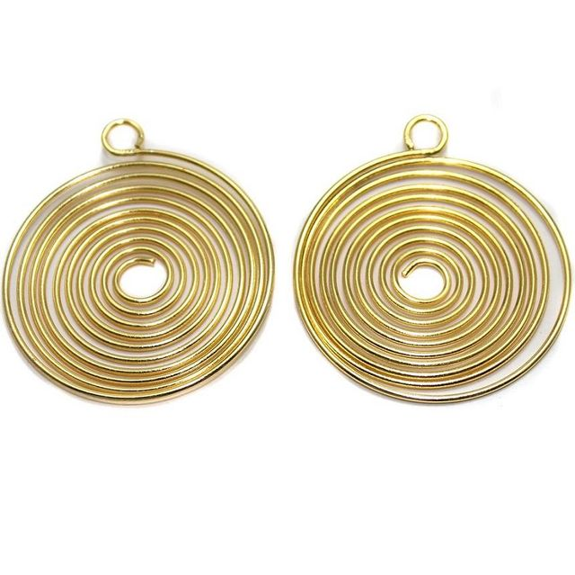 4 Earring Component Golden 38 mm